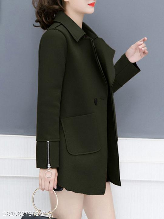 Notch Lapel Zipper Plain Coat