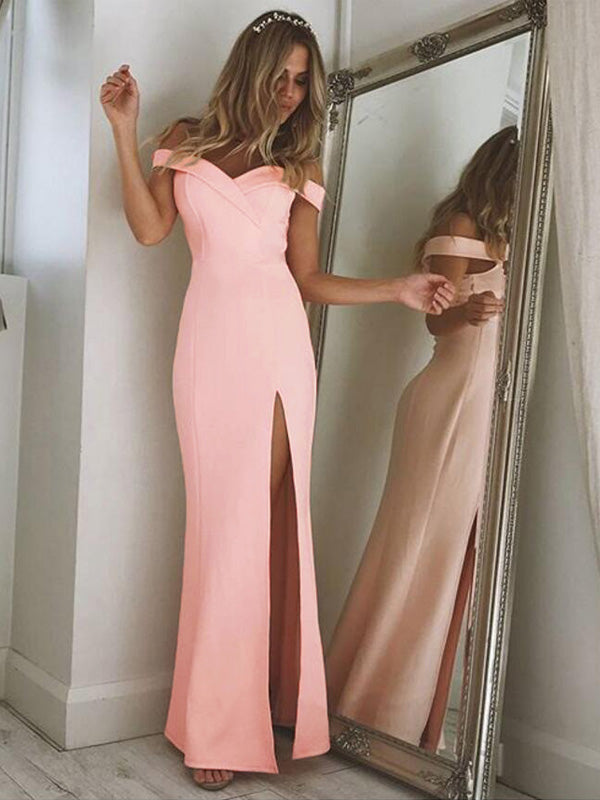 Simple Tube Top Slit Maxi Dress