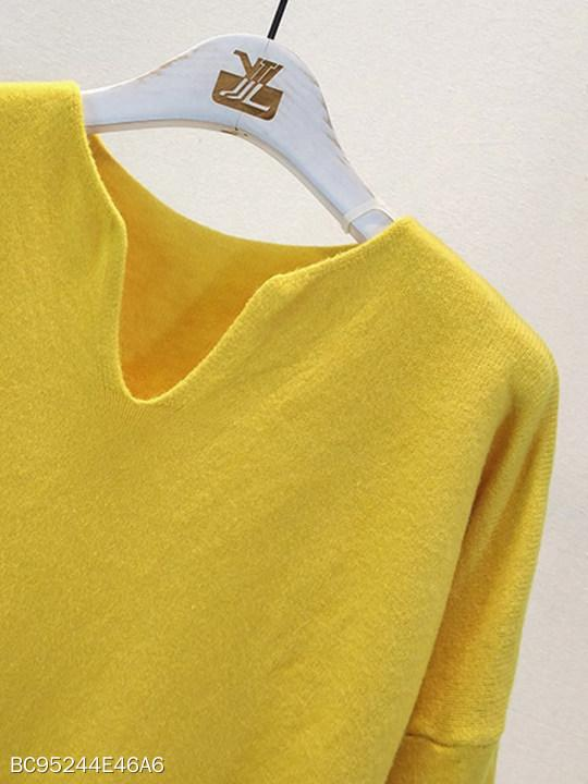 V Neck Plain Knit Pullover