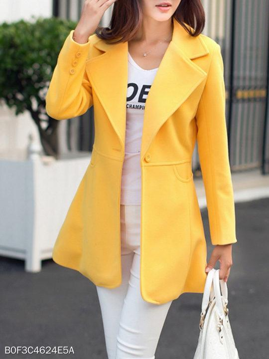 Notch Lapel Single Button Plain Coat