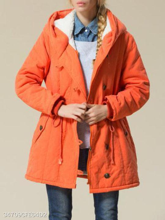 Hooded Drawstring Plain Coat