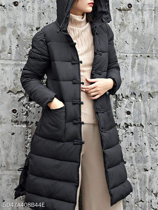Hooded Single Breasted Plain Coat