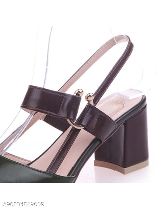 Plain Chunky Mid Heeled Ankle Strap Point Toe Date Office Pumps