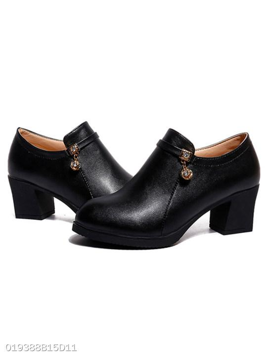 Plain Chunky Mid Heeled Round Toe Casual Outdoor Ankle Boots