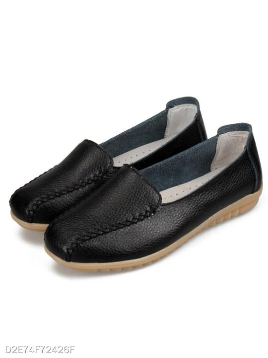 Flat Faux Leather Casual Flat & Loafers
