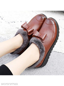 Plain Flat Round Toe Casual Outdoor Ankle Flat Boots