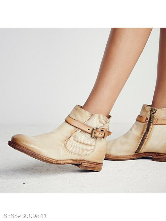 Flat Round Toe Date Outdoor Short Flat Boots