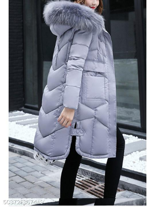 Hooded Patch Pocket Side Slit Zipper Plain Coats
