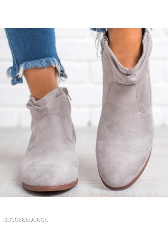 Plain Chunky Low Heeled Velvet Round Toe Date Outdoor Short Ankle Boots