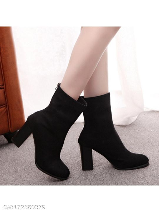 Plain Chunky High Heeled Velvet Round Toe Date Outdoor Mid Calf High Heels Boots