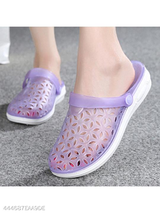 Hollow Out Flat Ankle Strap Round Toe Casual Flat Sandals