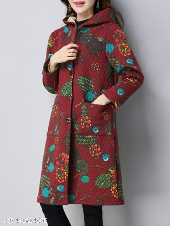 Hooded Single Breasted Abstract Print Coat