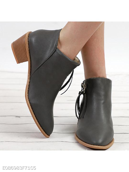 Plain Chunky High Heeled Round Toe Casual Date Outdoor Ankle Boots