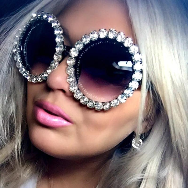 17 Colors Round Vintage Luxury Rhinestone Ladies' Sunglasses - bevsu