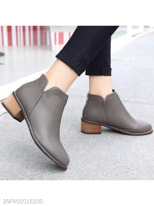 Plain Flat Round Toe Date Outdoor Short Ankle Boots