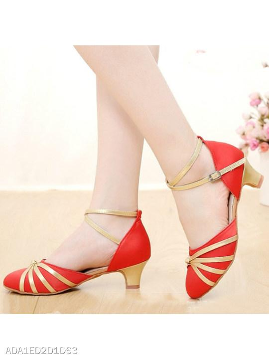 Color Block Chunky Low Heeled Ankle Strap Round Toe Event Formal Pumps
