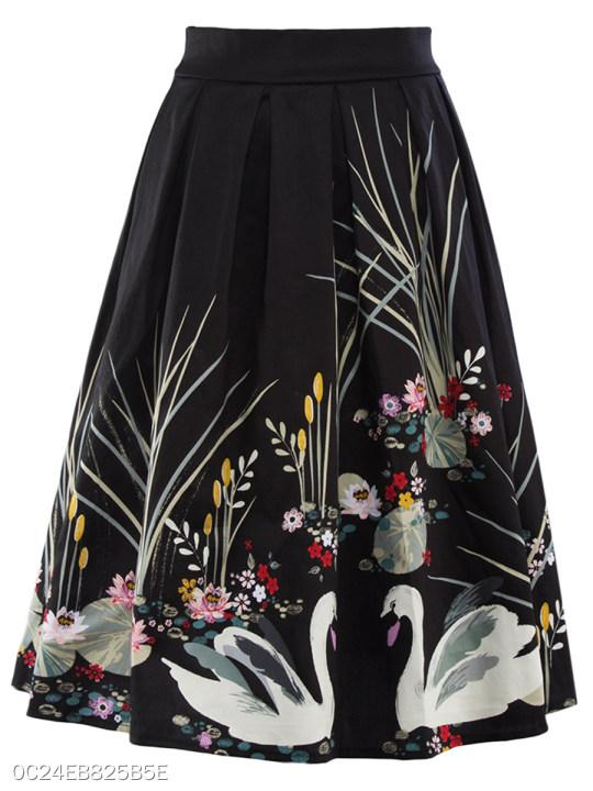 Inverted Pleat Printed Flared Midi Skirt