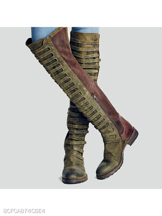 Color Block Flat Velvet Round Toe Casual Outdoor Knee High Flat Boots