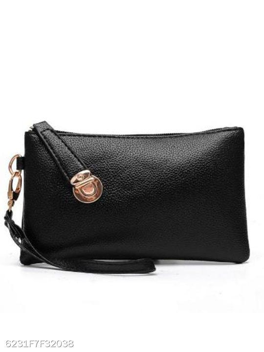 Black Stylish Simple Long Zipper Wallet