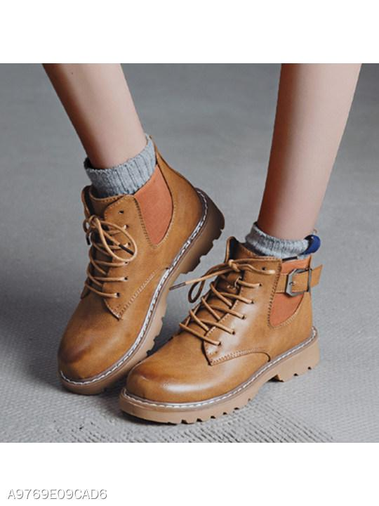 Plain Flat Criss Cross Round Toe Casual Outdoor Short Flat Boots