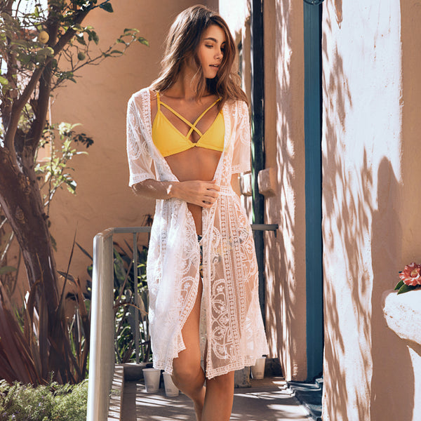 White Waves Embroidery Beach Swimwear Cover Up Blouse