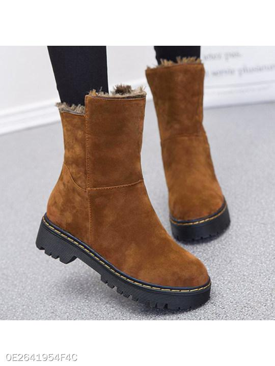 Plain Low Heeled Velvet Round Toe Casual Outdoor Flat Boots