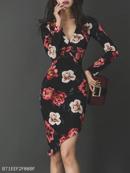 V Neck Asymmetric Hem Floral Printed Bodycon Dress