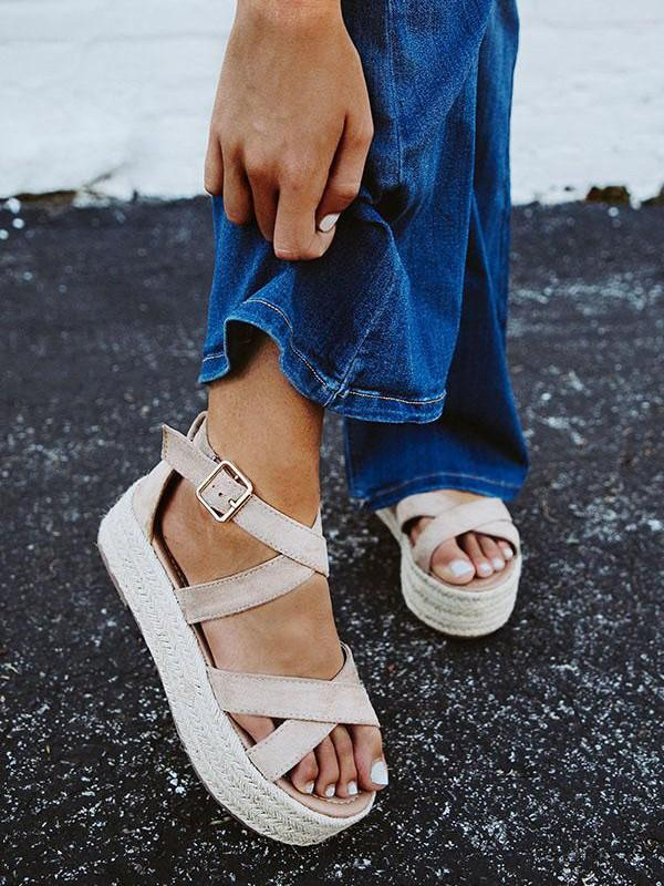 Straw Thick Soled Muffin Wedge Women's Sandals