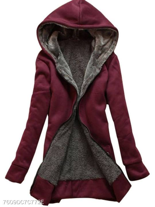 Hooded Patchwork Zips Plain Long Sleeve Hoodies