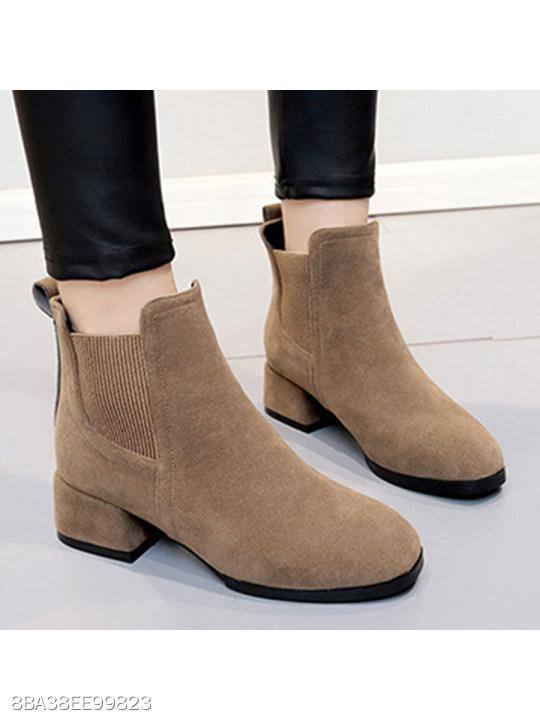 Plain Chunky Mid Heeled Velvet Round Toe Date Office Ankle Boots