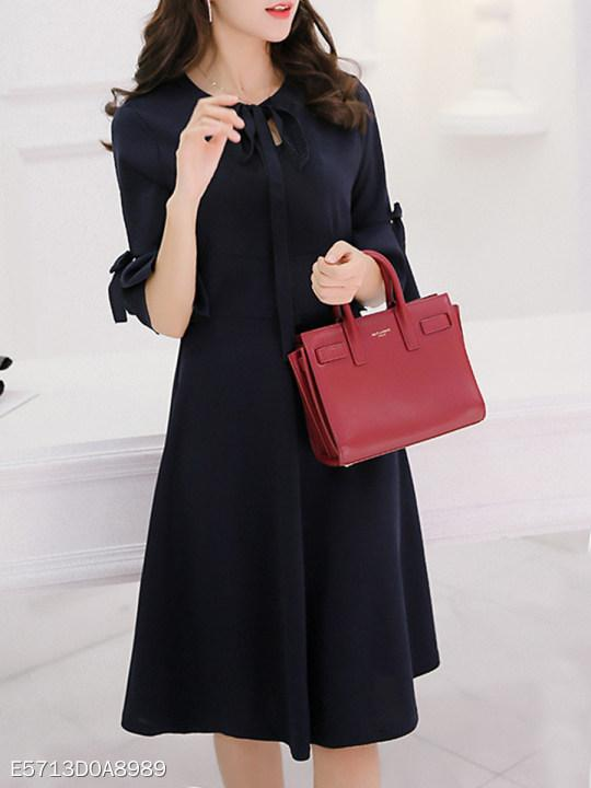 Tie Collar Plain Bell Sleeve Shift Dress