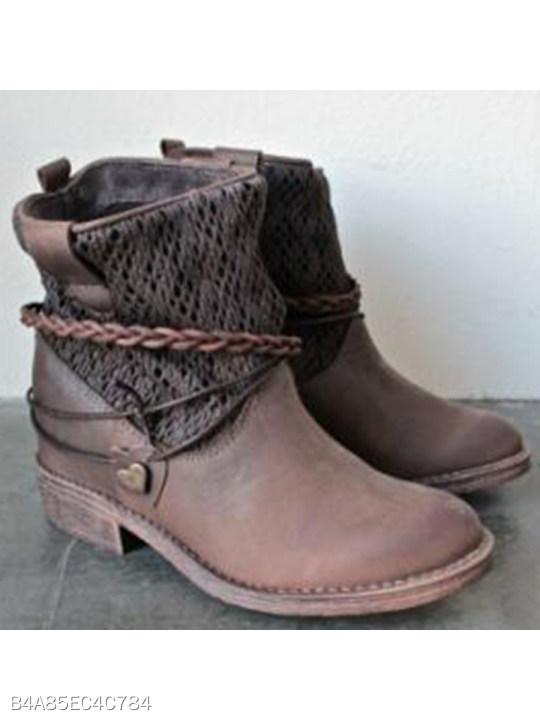 Plain Round Toe Casual Outdoor Short Flat Boots