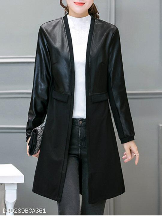 Collarless Patchwork Plain Coat