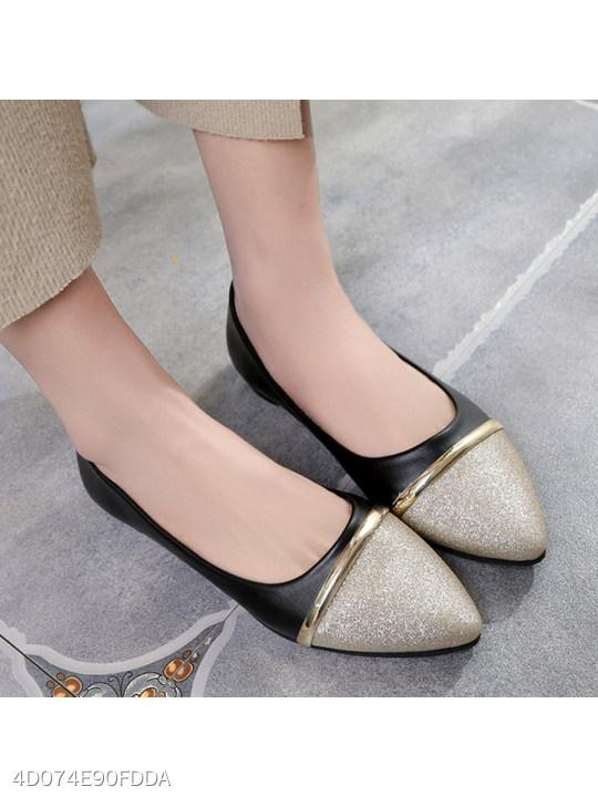Color Block Flat Point Toe Date Office Comfort Flats
