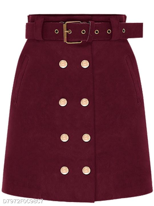 Double Breasted Belt Plain Mini Skirt