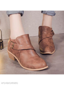 Plain Chunky Mid Heeled Round Toe Casual Outdoor Ankle Ankle Boots