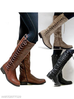 Plain Flat Round Toe Date Outdoor Knee High Flat Boots