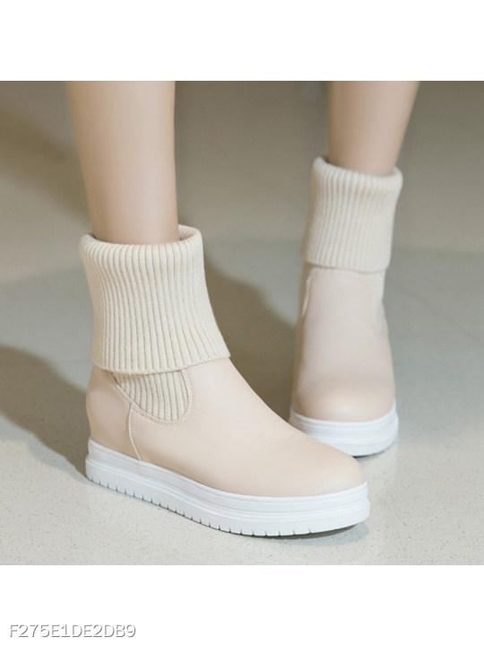 Plain Round Toe Date Outdoor Short High Heels Boots