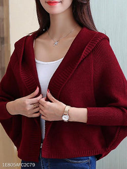 Hooded Plain Batwing Sleeve Knit Cardigans