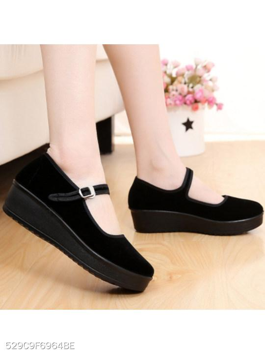 Plain Low Heeled Round Toe Casual Flat & Loafers