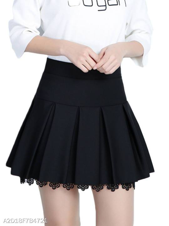 Inverted Pleat Plain A-Line Mini Skirt With Underpant