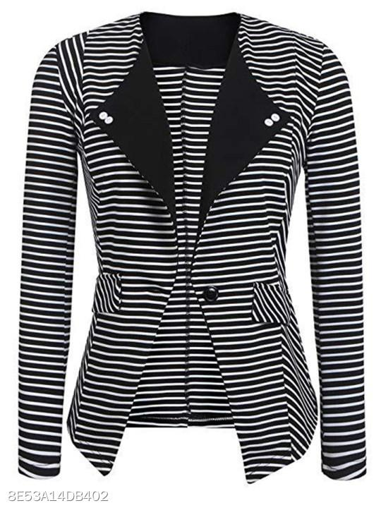 Collarless Striped Blazer