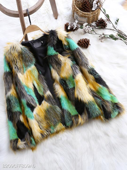 Collarless Abstract Print Coat