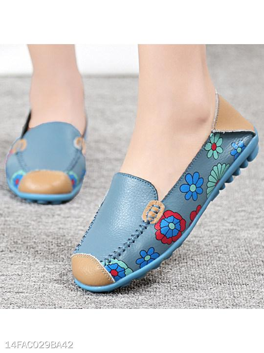 Color Block Floral Flat Round Toe Casual Flat & Loafers