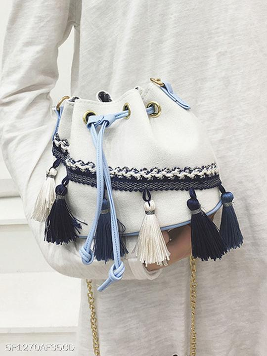 Plain Tassel Crossbody Bags For Women
