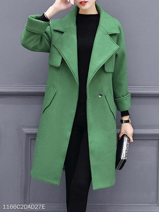 Notch Lapel Single Button Plain Cuffed Sleeve Coat