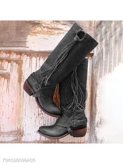 Plain Chunky Low Heeled Round Toe Casual Date Outdoor Knee High High Heels Boots