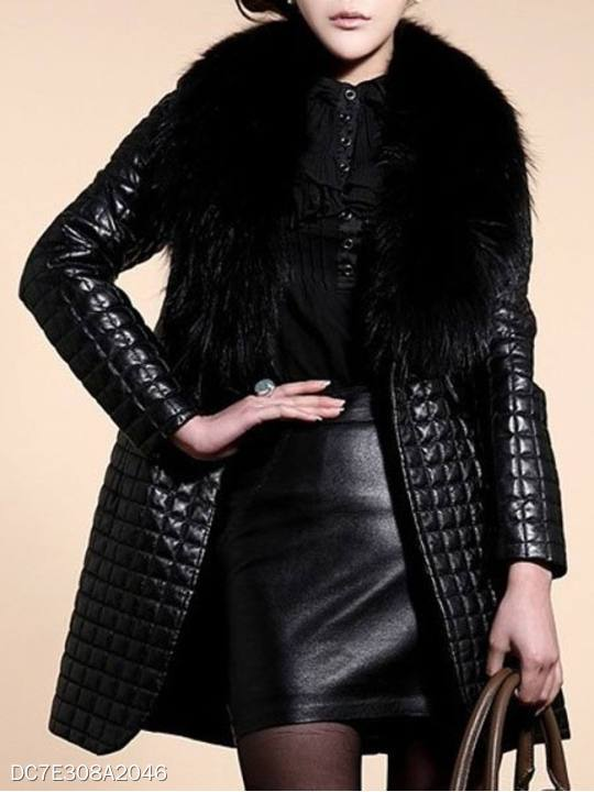 Faux Fur Collar Slit Pocket Plain Coats