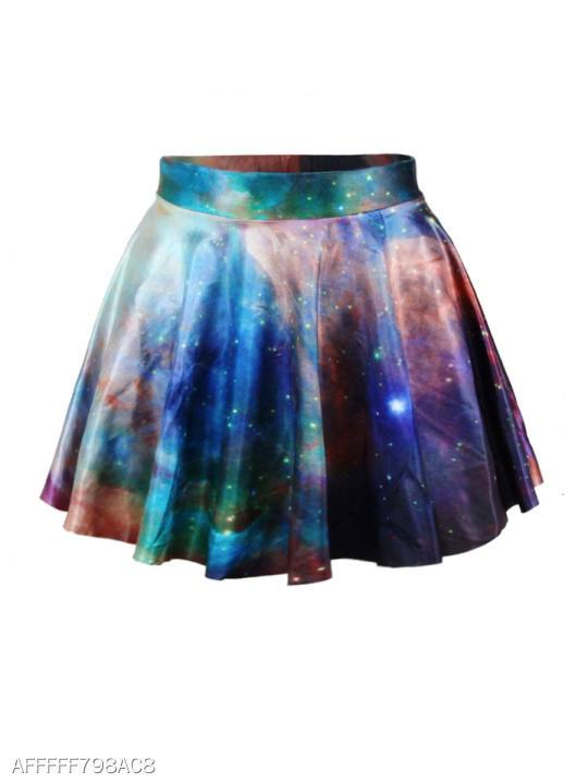 Elastic Waist Dreamy Printed Flared Mini Skirt