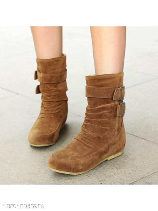 Plain Invisible Low Heeled Velvet Round Toe Casual Mid Calf Flat Boots